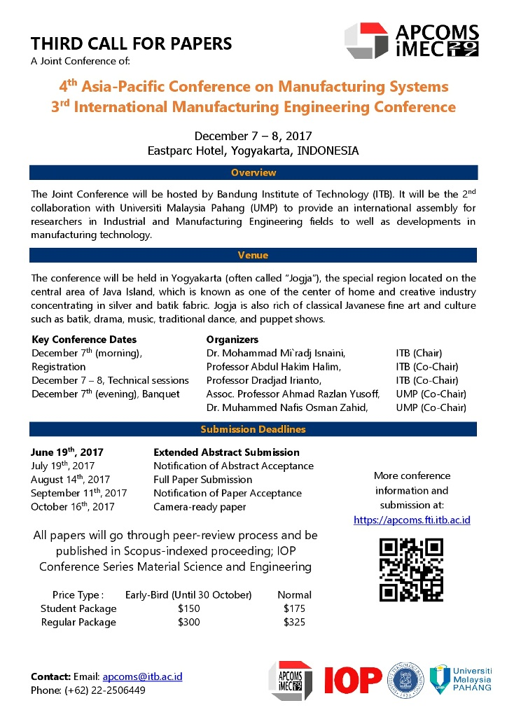Call For Papers: Joint Conference APCOMS - IMEC 2017