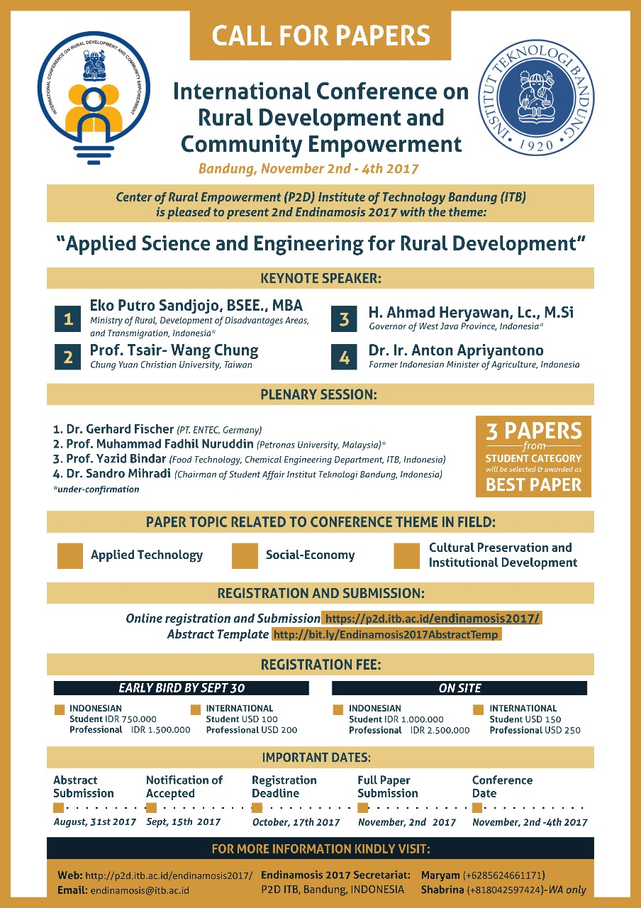 Call for Papers - International Conference on Rural Development and Community Empowerment