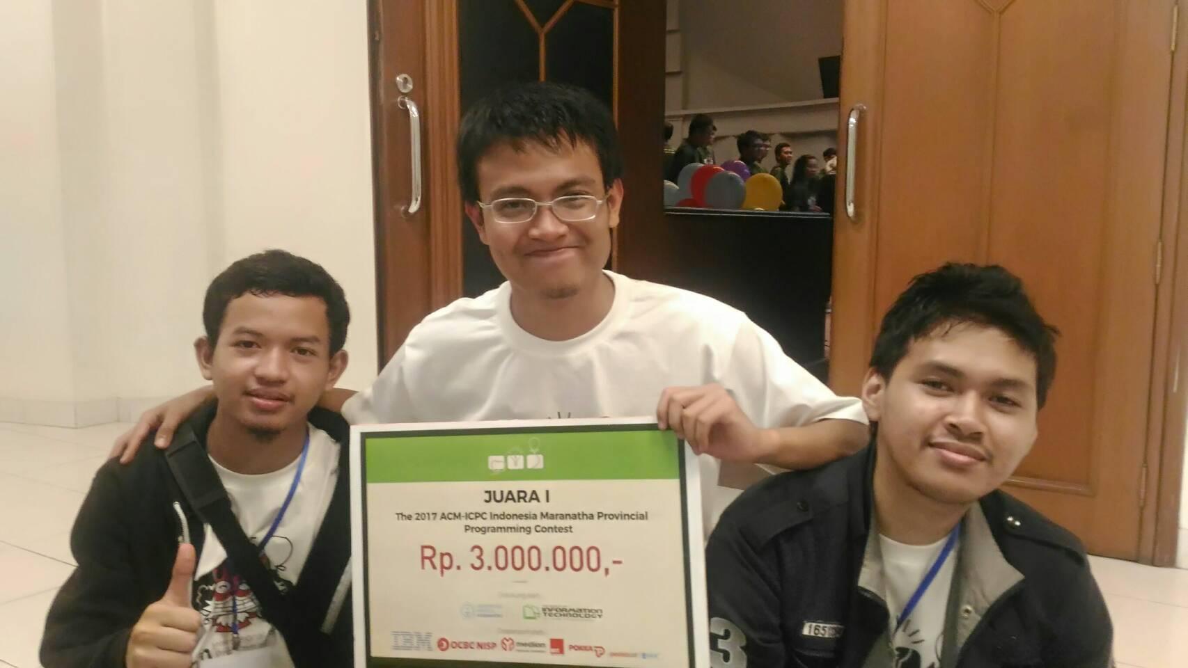 Dua Tim ITB Memenangkan 2017 ACM-ICPC Indonesia Maranatha