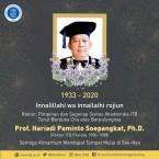 Rektor ITB Periode 1980-1988 Prof. Hariadi Soepangkat Berpulang